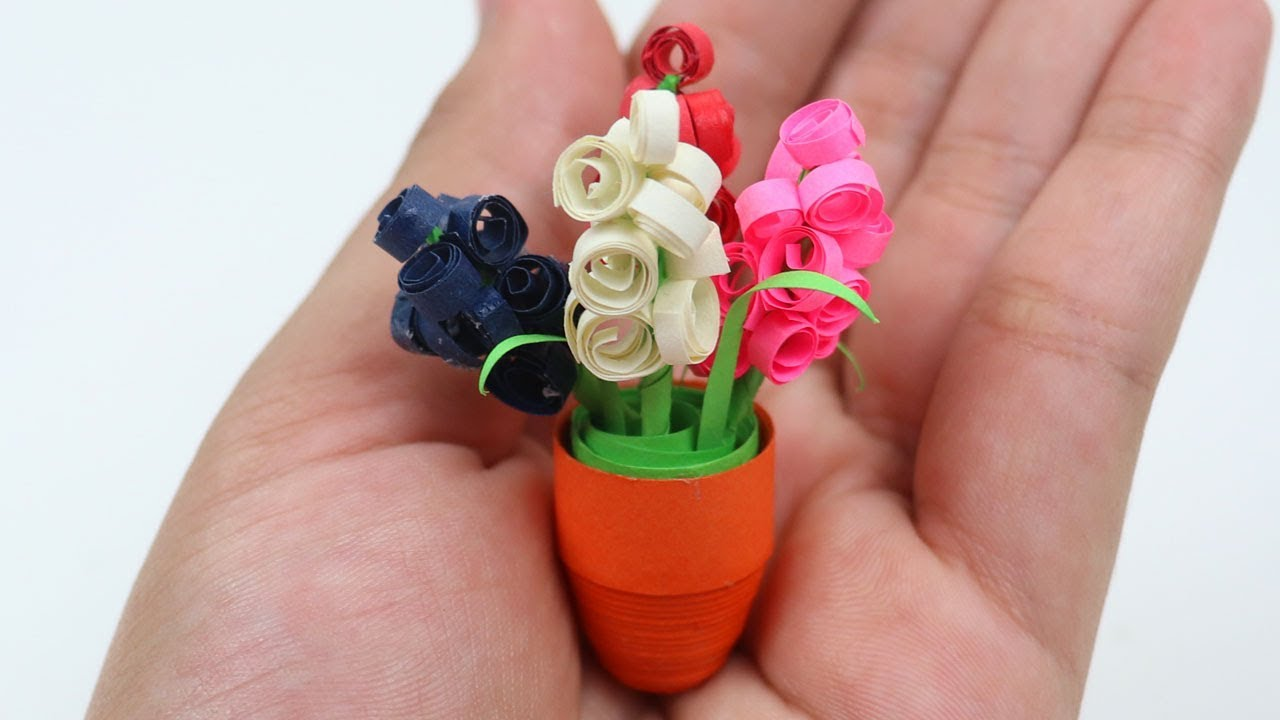 DIY: Quilling Miniature 3D Flower Pot ⚱ How to Make Flower Pot With ...