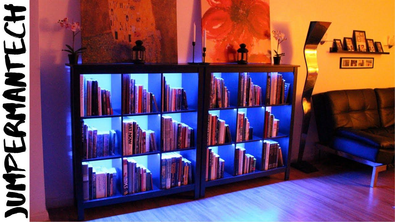 how to install led strip lights under bookshelf led bookshelf lighting diy