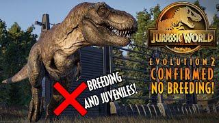 CONFIRMED! BREEDING & JUVENILES WILL NOT BE IN JURASSIC WORLD: EVOLUTION 2!