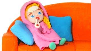 LITTLE PRINCESS HAS A COLD ❤ SUPERHERO PLAY DOH CARTOONS FOR KIDS