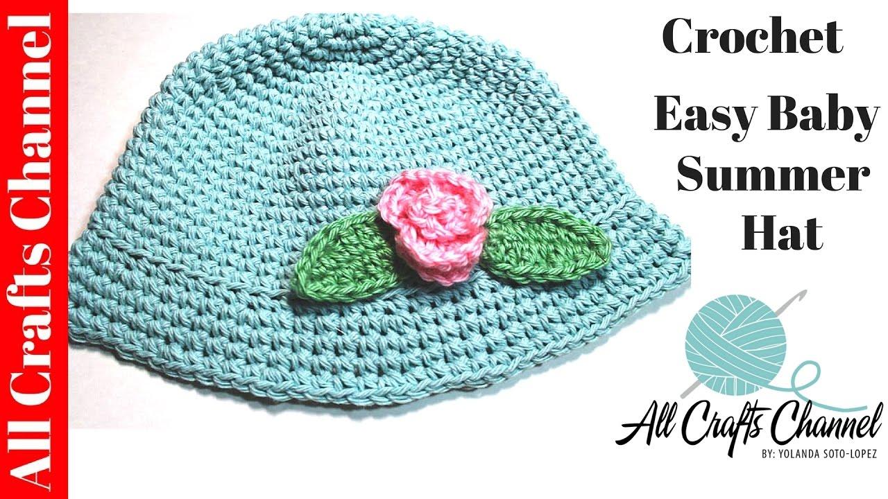 790bcea42b0 How to crochet Easy Baby summer hat - YouTube