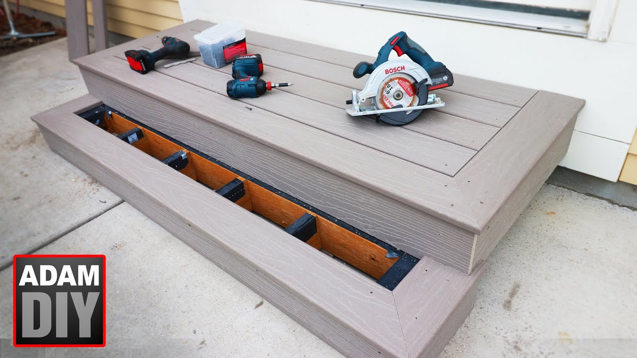 How To Build Porch Steps Composite Decking Youtube   Back Door Step Designs   Stone Veneer   Step Down   Paver   Brick   Block Paving Step