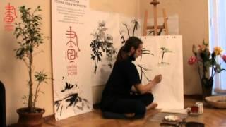 Обучение рисованию сосны при помощи живописи у-син Часть 1