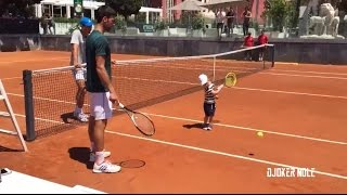 Novak Djokovic Plays Tennis with His Son Stefan - Rome 2017 (HD)