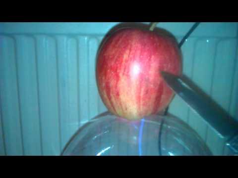 Plasma ball burns an apple!