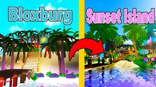 I Built SUNSET ISLAND In BLOXBURG - Royale High VS Bloxburg! (Roblox)