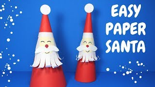 How to Make an Easy Paper Santa   Christmas Craft for Kids