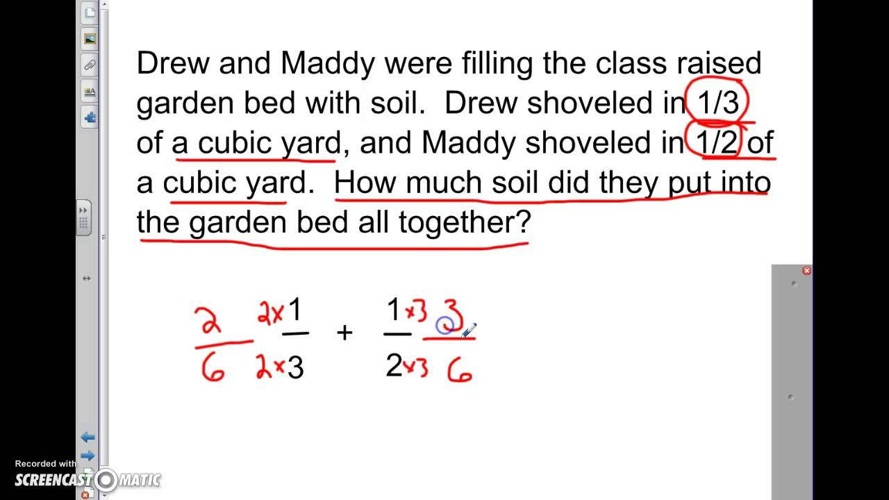 worksheet Adding Fractions Problems adding and subtracting unlike fractions word problems youtube