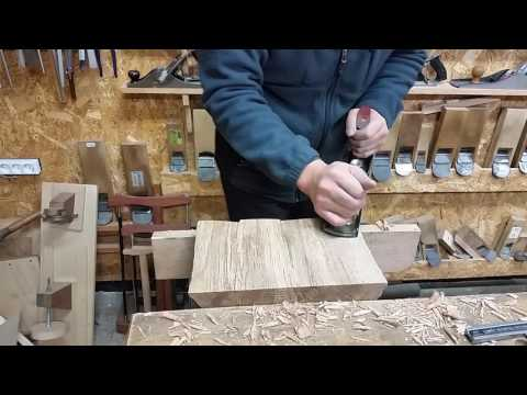 Oak end grain planing with Luban Low Angle Jack Plane