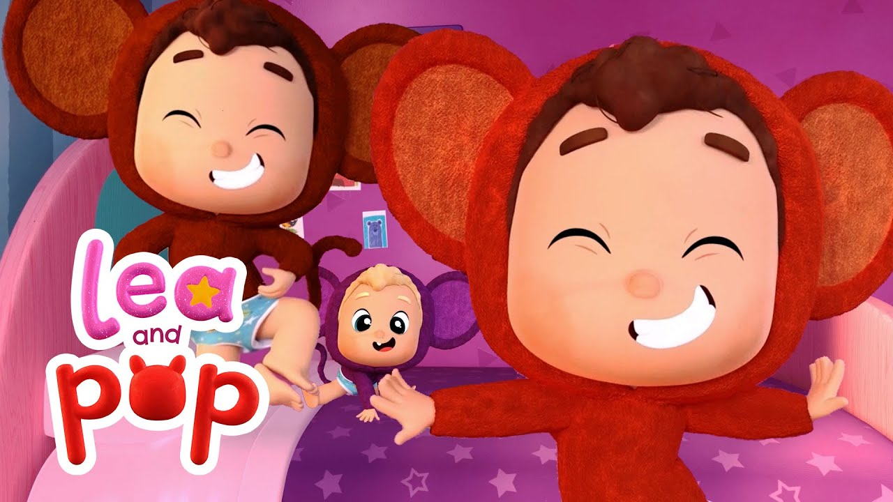🐵Five Little Monkeys Jumping on The Bed - Baby Songs with Lea and Pop