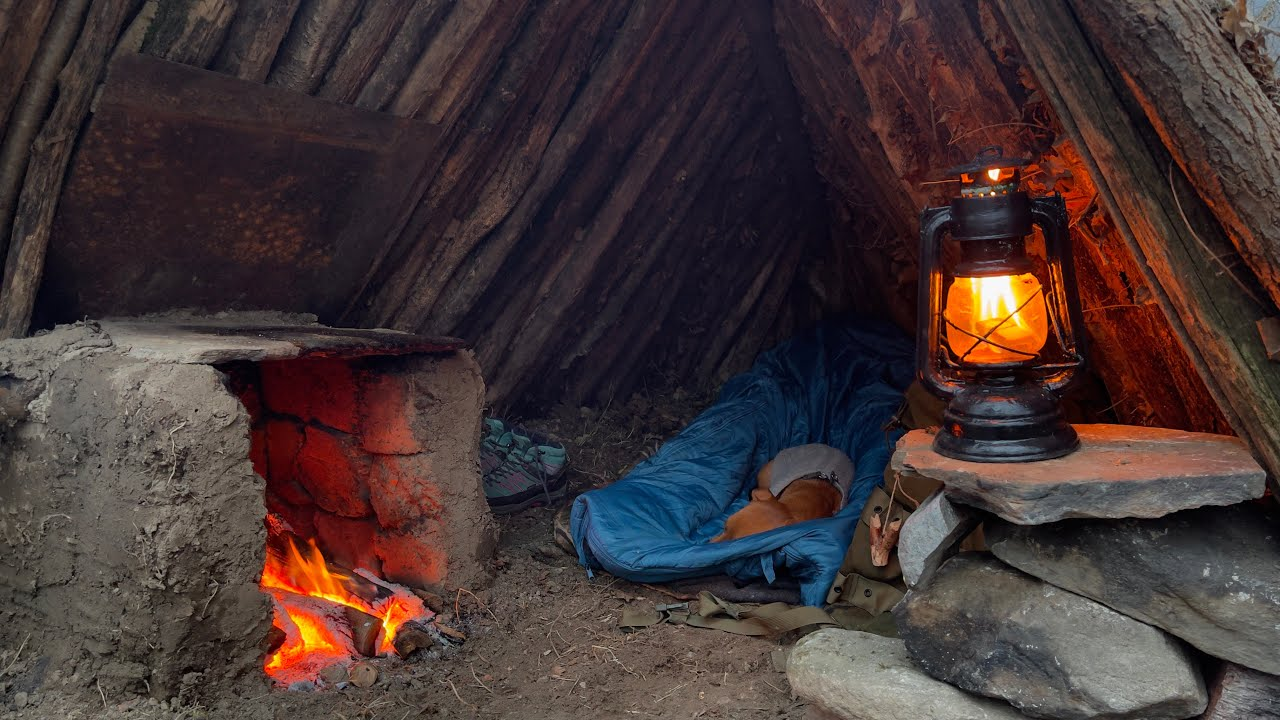 SOLO Two Days CAMPING at My BUSHCRAFT Camp — Sleep In EARTH SHELTER — Cook Big Steak on Mud Stove