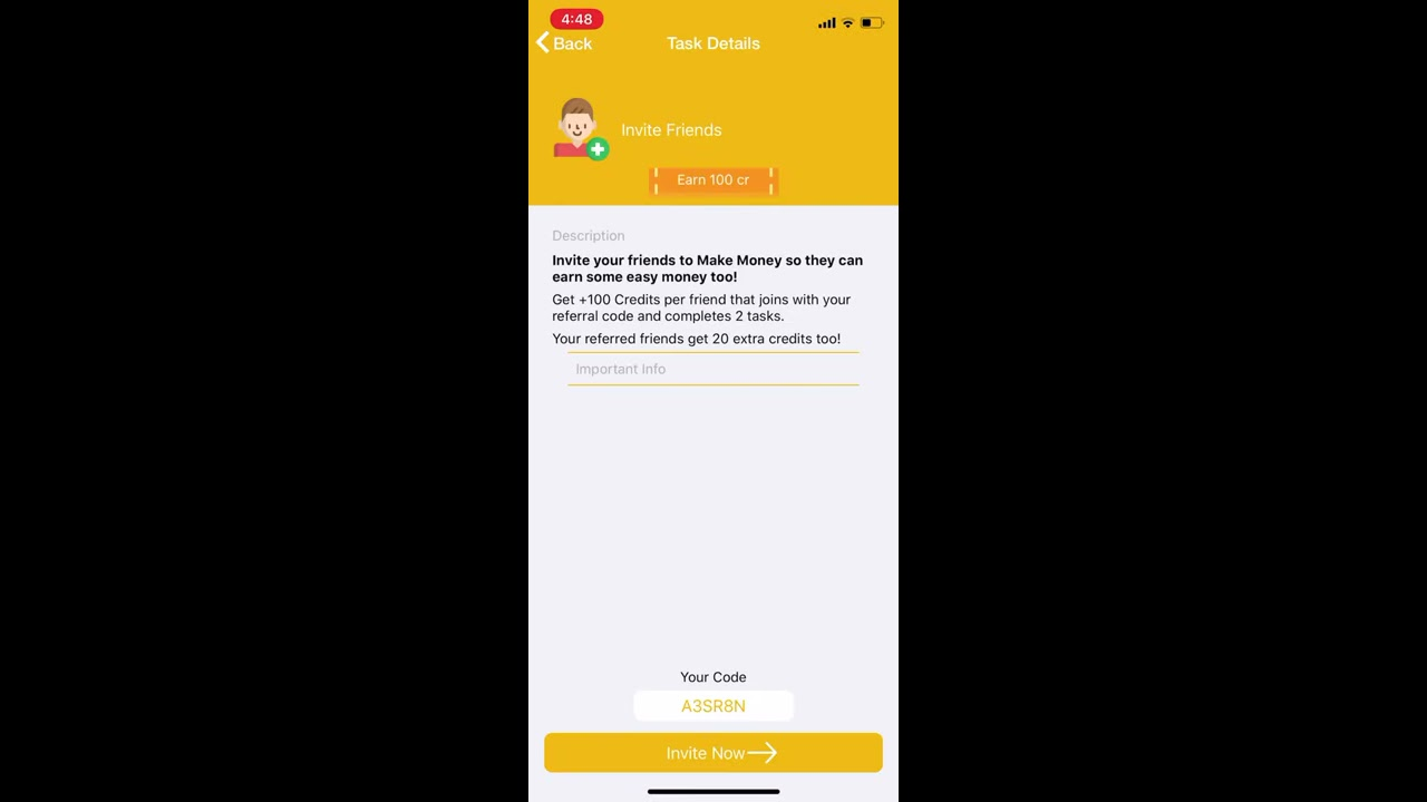 500 Credits Referral Code Make Money App Ios And Android 2019 21 Youtube