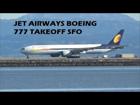 Jet Airways Boeing 777-300ER takeoff SFO San Francisco International Airport
