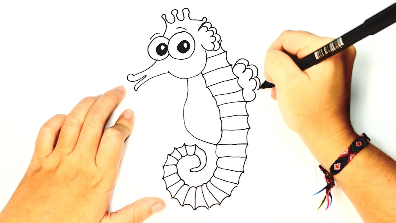how to draw a seahorse for kids sea horse easy draw tutorial
