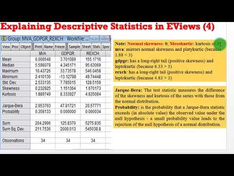 Beginners Econometrics (EViews) - How to Interpret Descriptive Statistics