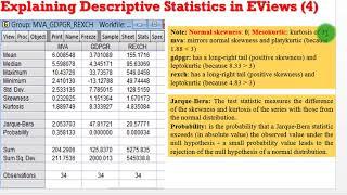 (EViews10):Interpret Descriptive Statistics #descriptivestats #interpret #eviews #output
