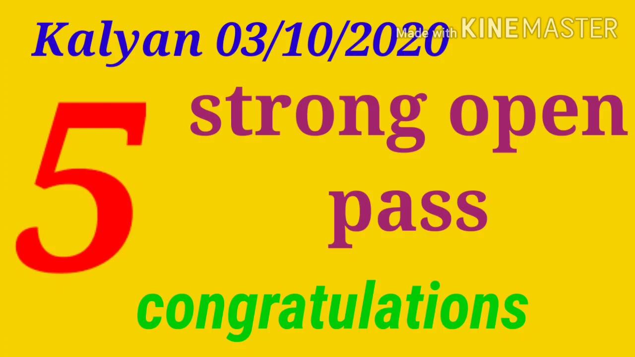 03/10/2020 Kalyan satta matka trick, open pass