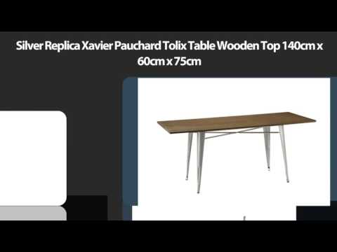 Silver Replica Xavier Pauchard Tolix Table Wooden Top 140cm x 60cm x 75cm