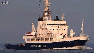 [船] KOYO MARU 航洋丸 Salvage tugboat サルベージタグ Kanmon Strait 関門海峡 2014-FEB