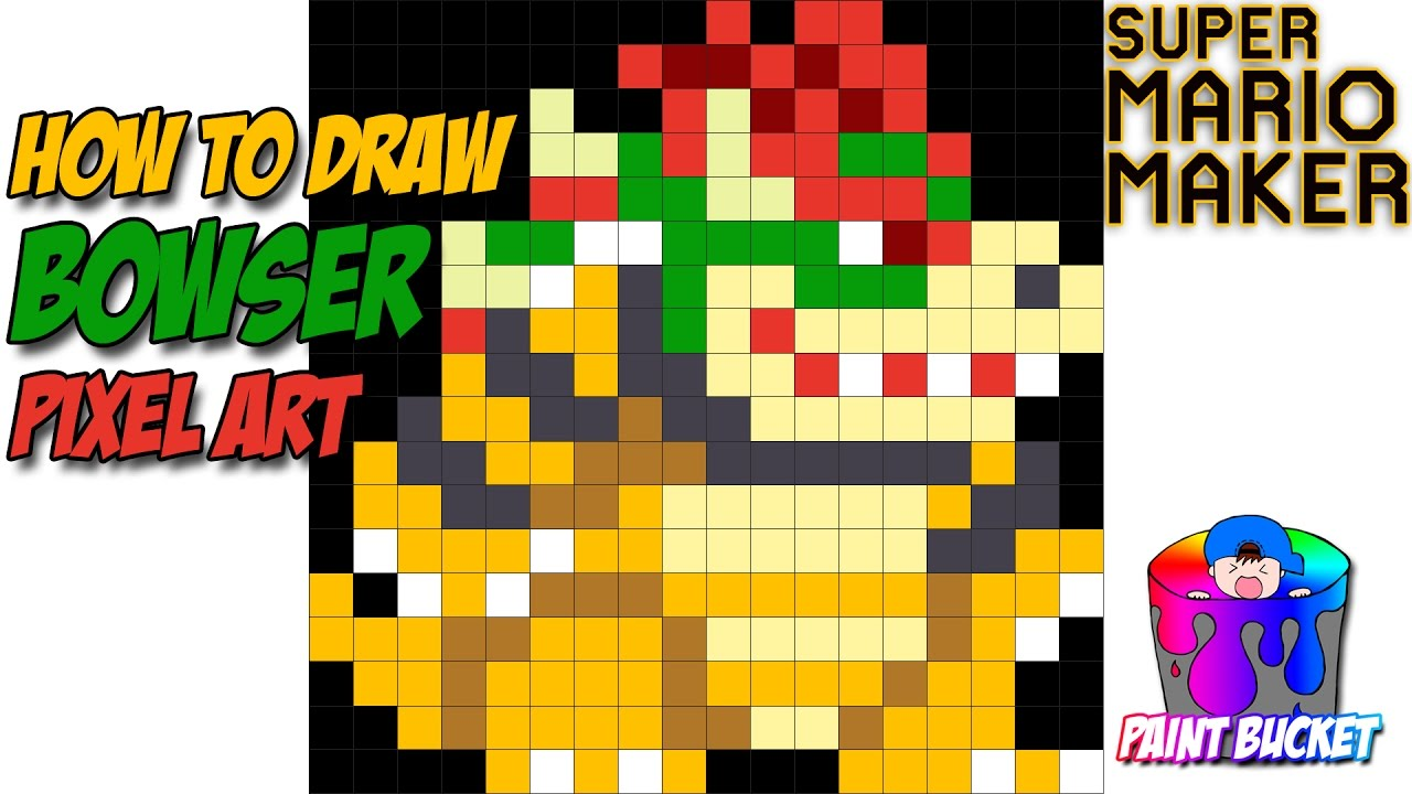 How to Draw Bowser - Super Mario Maker Pixel Art 8-Bit Drawing Tutorial