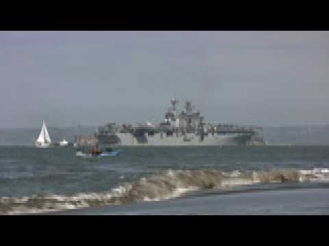 USS Makin Island passes by Alcatraz