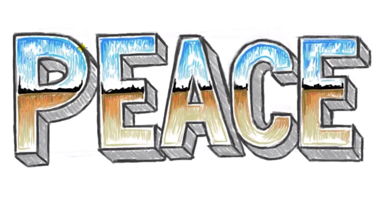 How To Draw PEACE 3D