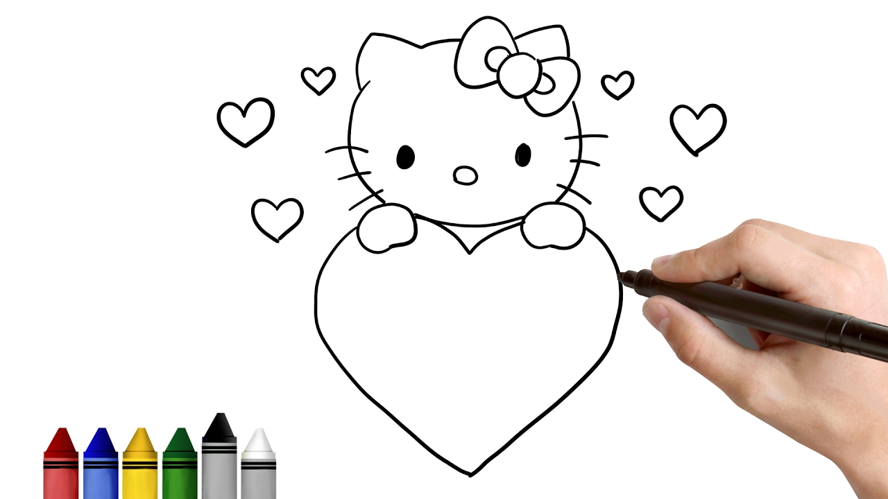 how to draw hello kitty for valentines day drawing for kids tutorial art lessons kidsatwork youtube