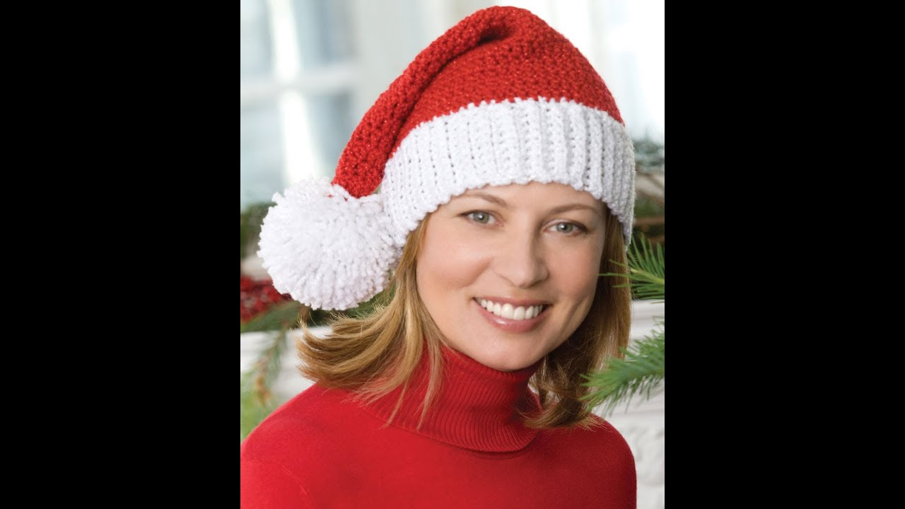 How to Crochet Santa Hat - Video One - YouTube