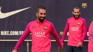 Fc barcelona training session: first workout session of the week