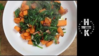 Easy Side Dishes - Spicy Sweet Potato, Bacon & Spinach Side Dish
