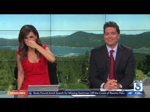 KTLA Reporter Gets Puked On - LIVE TV