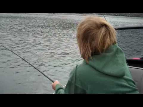 Elliott catches his first salmon