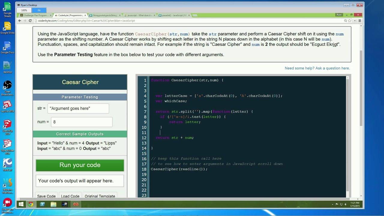 Live Code - Pair Programming - CoderByte Challenge: Caesar Cipher