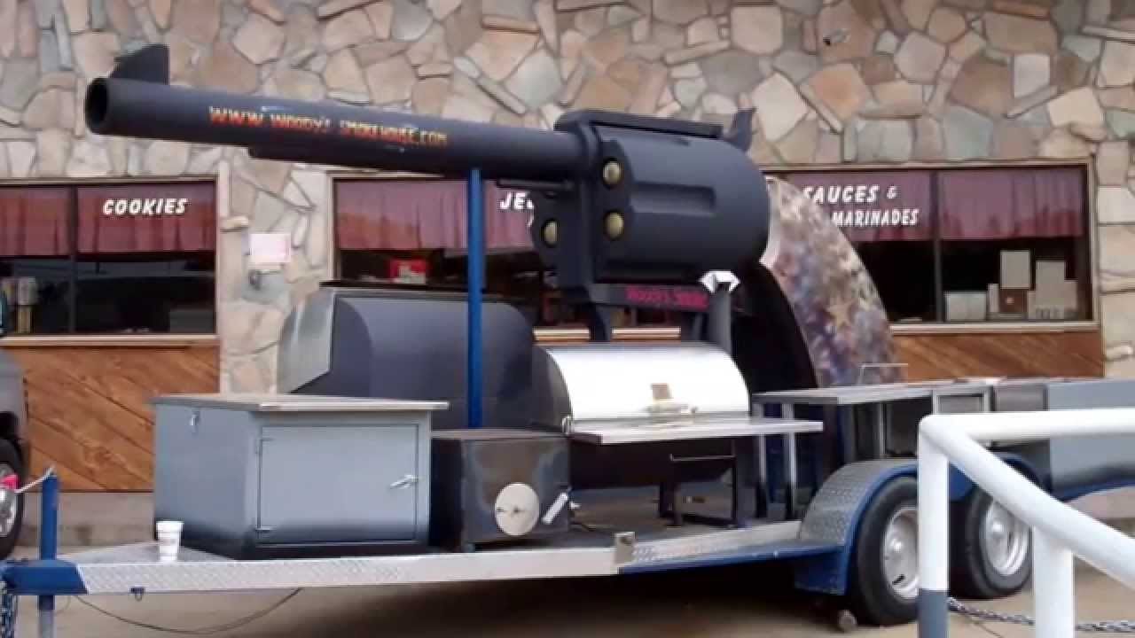 Texas BBQ Biggest Pistol Barbecue Pit Smoker Bar B Q - YouTube
