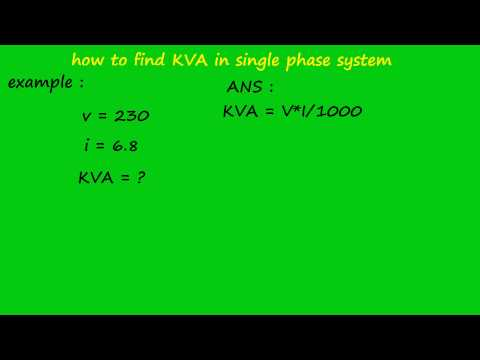 how to calculate kva in single phase system