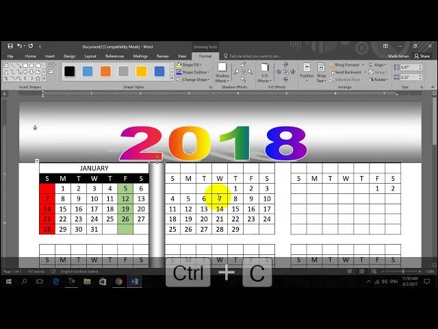 MS WORD  Basic Tutorial No 4 Calander 2018