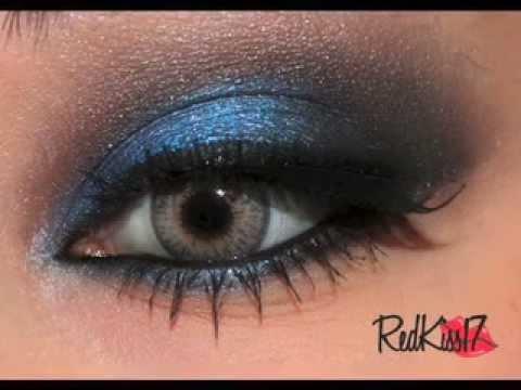 Maquillaje para boda de noche vestido azul
