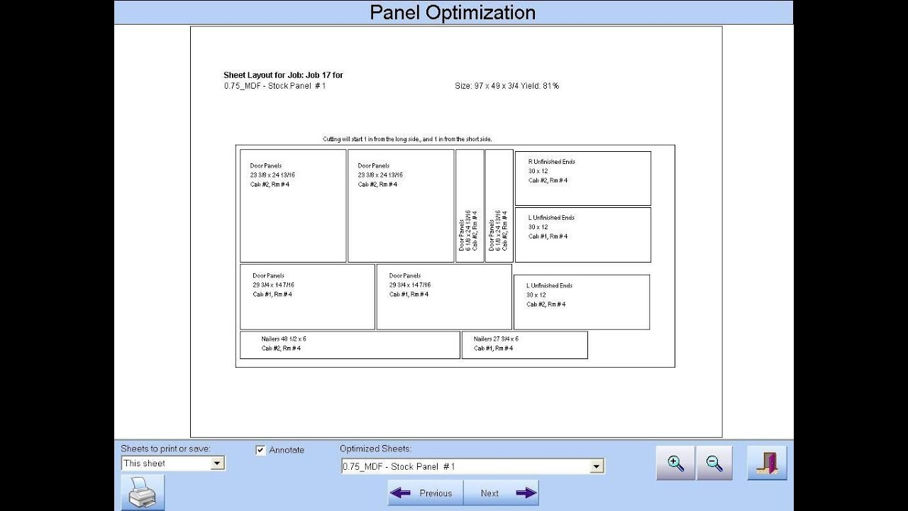 Cabinet Pro Software: Panel Optimization in Cabinet Pro by  CabinetProSoftware