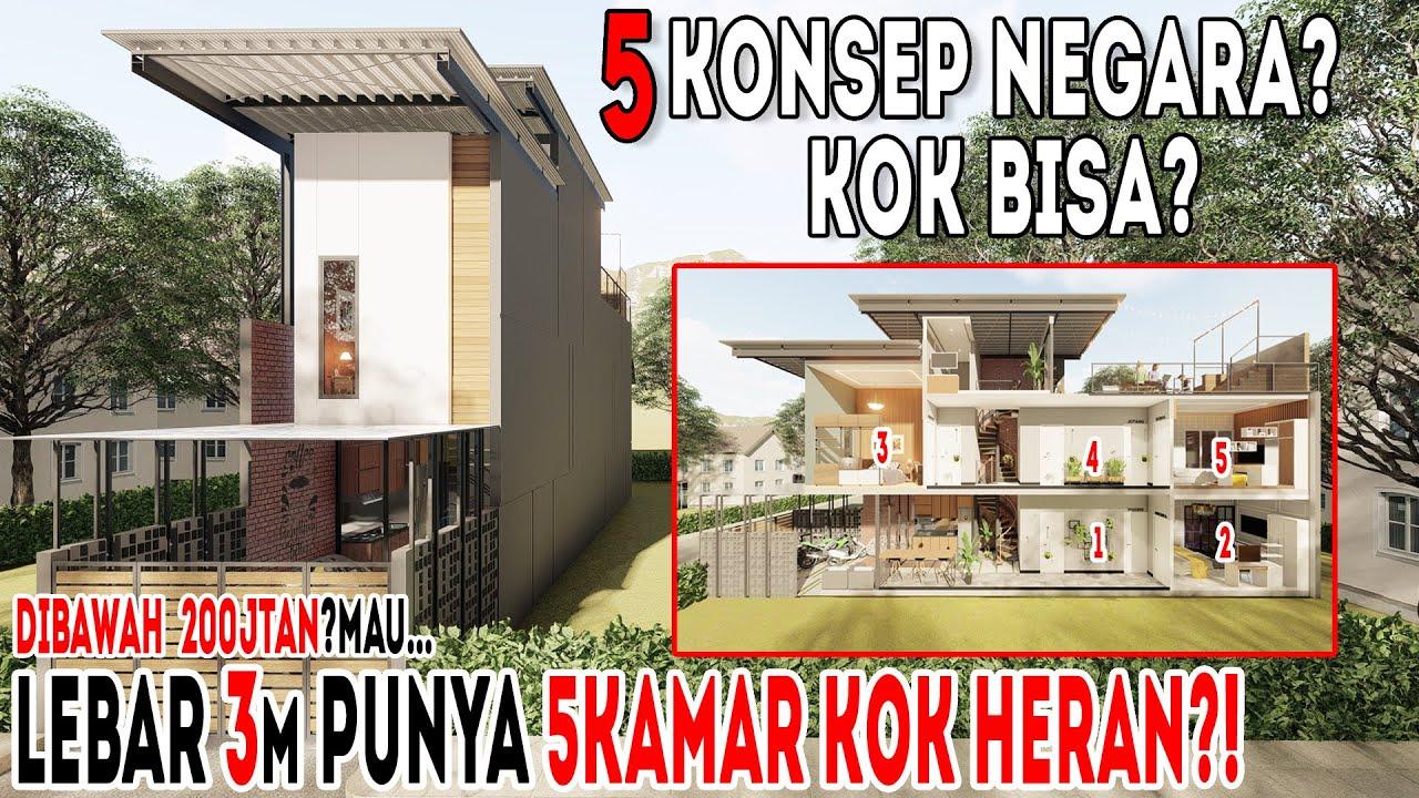 Kok bisa⁉️lebar hanya 3m⁉️desain rumah ini menggunakan 5 konsep dari negara yang berbeda⁉️