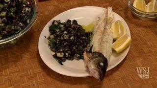 Grilled Fish W/quinoa, Cucumber & Pistachios