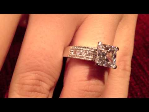 2 carat diamond quality cubic zirconia princess cut stone in prong setting-Item P7376e