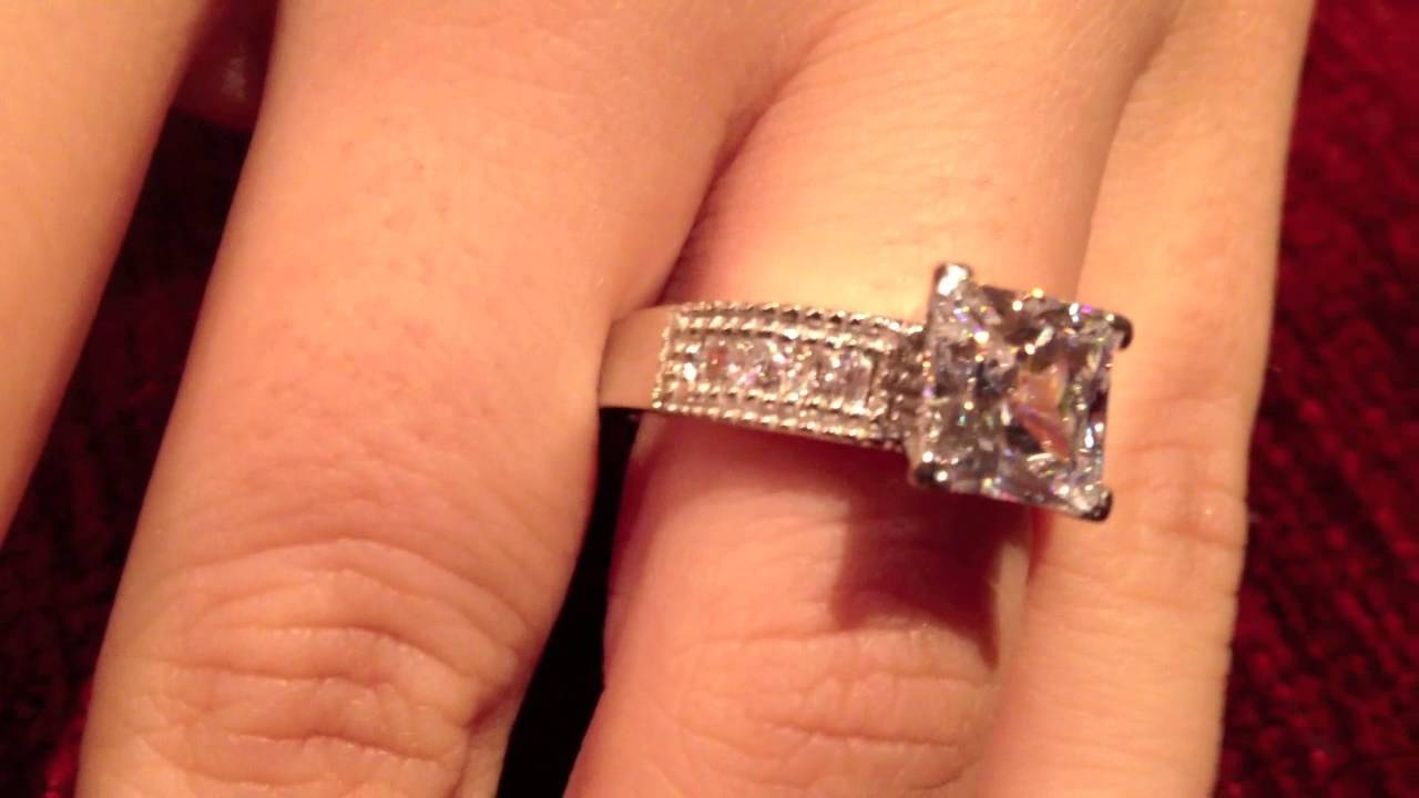 Big Princess Cut Diamond Engagement Rings