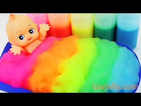 Thumbnail: Learn Colors Baby Doll Body Paint Bubble Foam Bath Time Play Doh Ice Cream Cup Baby Finger Family