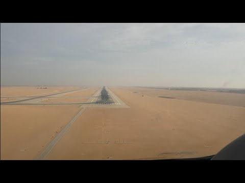 PRIVATE JET Airplane Lands A very soft Landing  in CAIRO INTERNATIONAL AIRPORT