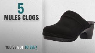 Top 5 Mules Clogs [2018]: Crocs Women's Sarah Suede Clog Mule, Black, 8 M US