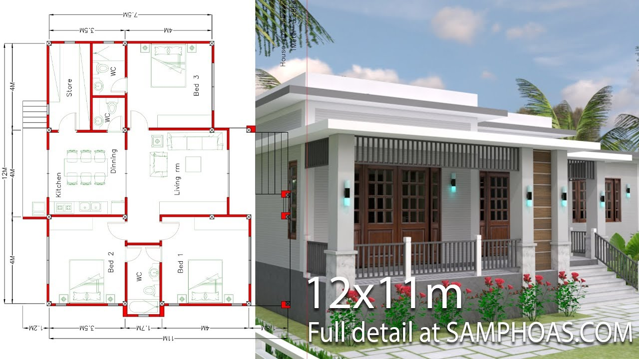 House Design With Full Plan 12x11m 3