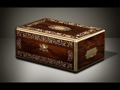 Daniellucian.com - Antique Jewellery Box in Rosewood with Foliate Brass Inlay