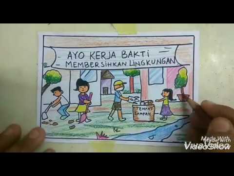 Gambar Kerja Bakti Di Lingkungan Sekolah Kartun Cara Menggambar Tema Kerja Bakti Buat Anak Sd Bikin Pr Gambar Kamu 100 Youtube