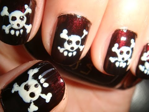 Skull Nails Simple Tutorial For Short Nails Youtube