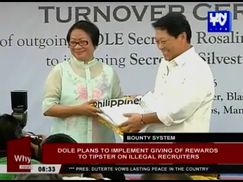 DOLE plans to implement giving of rewards to tipster on illegal recruiters